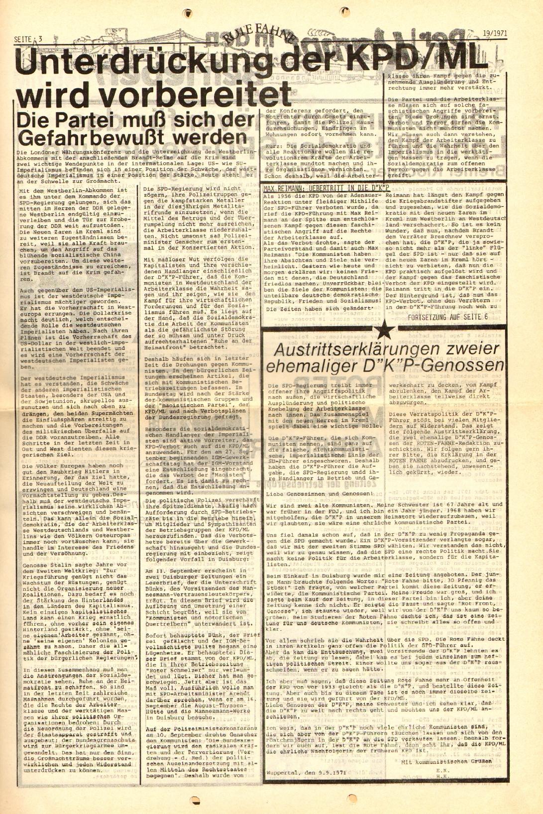 Rote Fahne, 2. Jg., 27.9.1971, Nr. 19, Seite 3