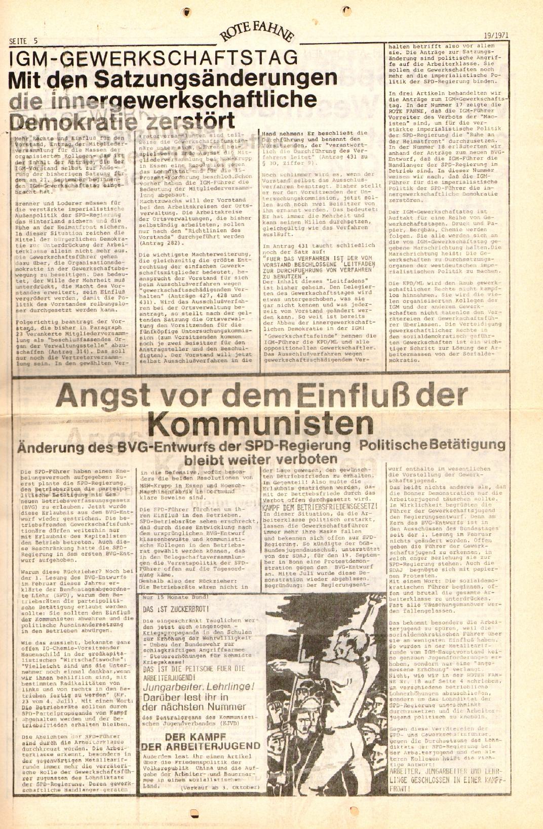 Rote Fahne, 2. Jg., 27.9.1971, Nr. 19, Seite 5