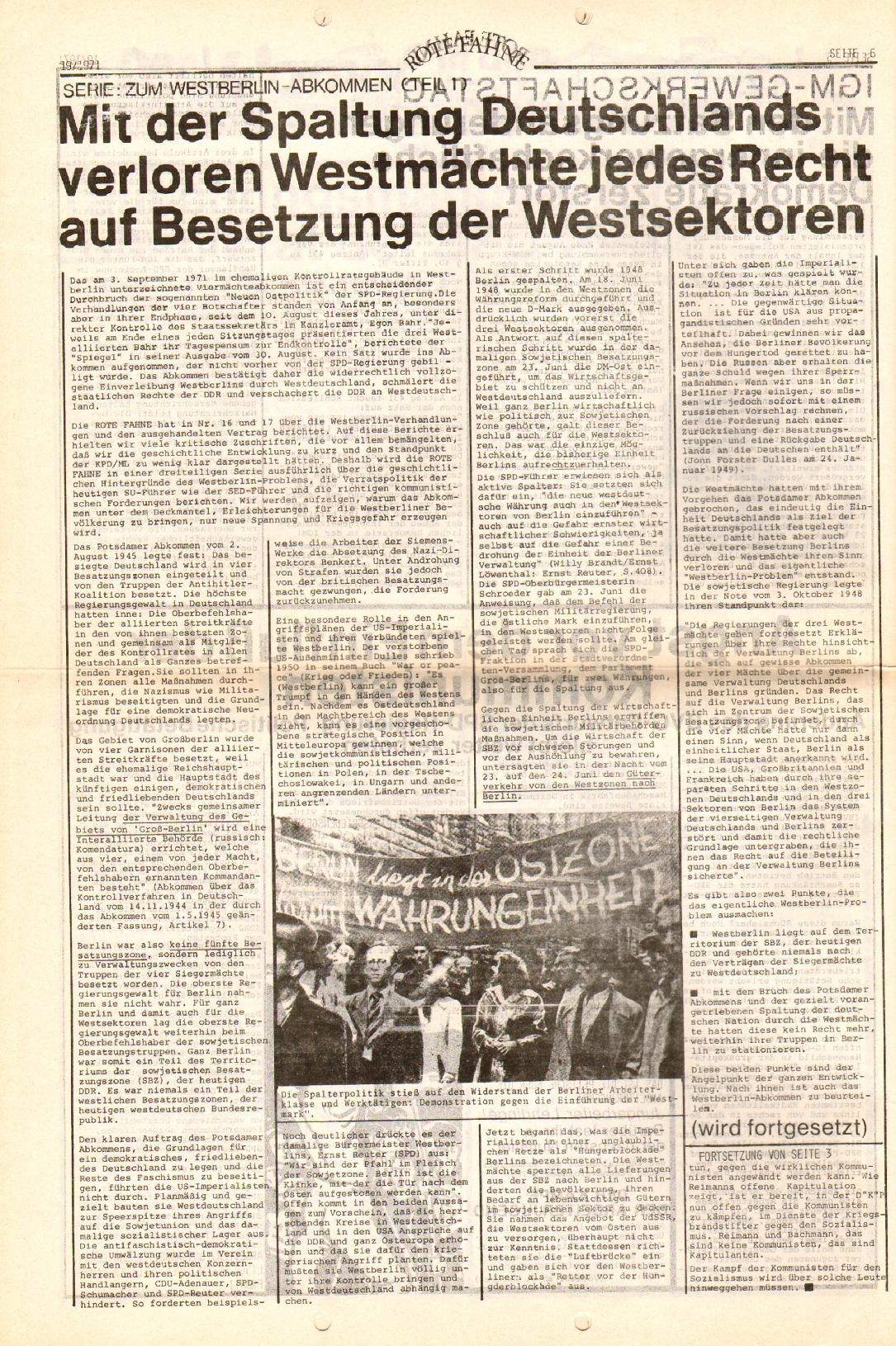 Rote Fahne, 2. Jg., 27.9.1971, Nr. 19, Seite 6
