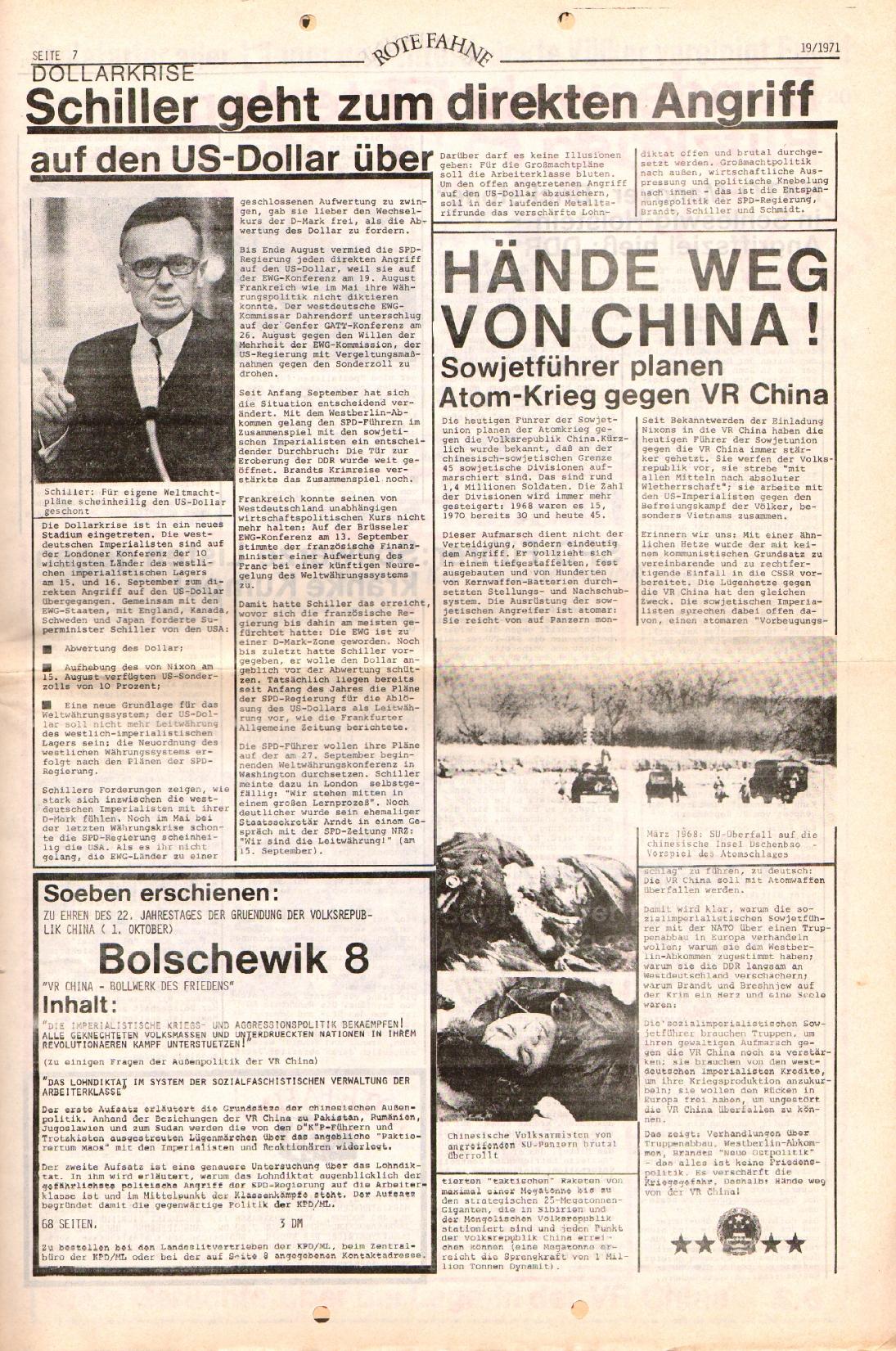 Rote Fahne, 2. Jg., 27.9.1971, Nr. 19, Seite 7
