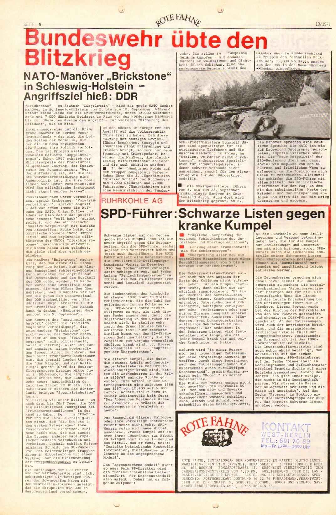 Rote Fahne, 2. Jg., 27.9.1971, Nr. 19, Seite 8