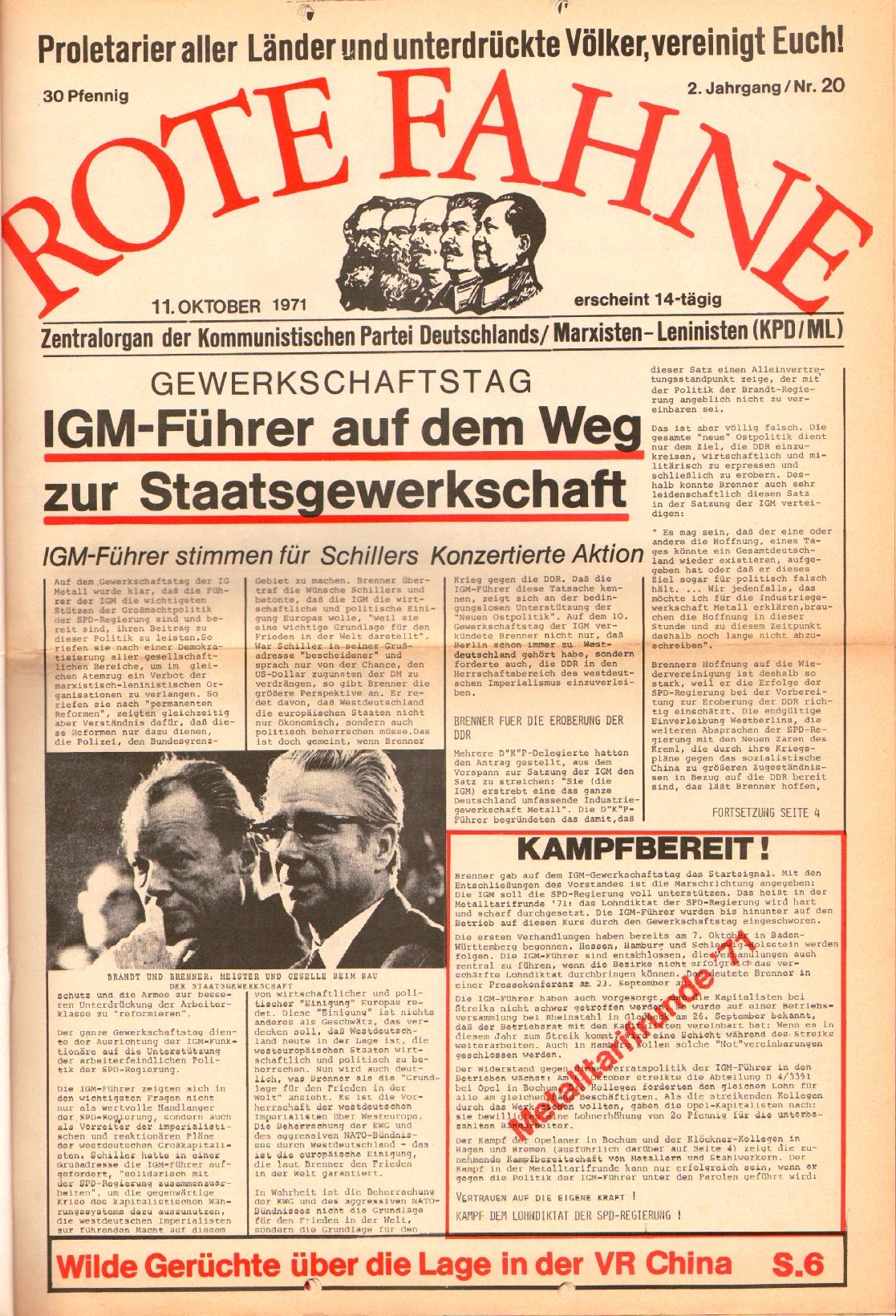 Rote Fahne, 2. Jg., 11.10.1971, Nr. 20, Seite 1