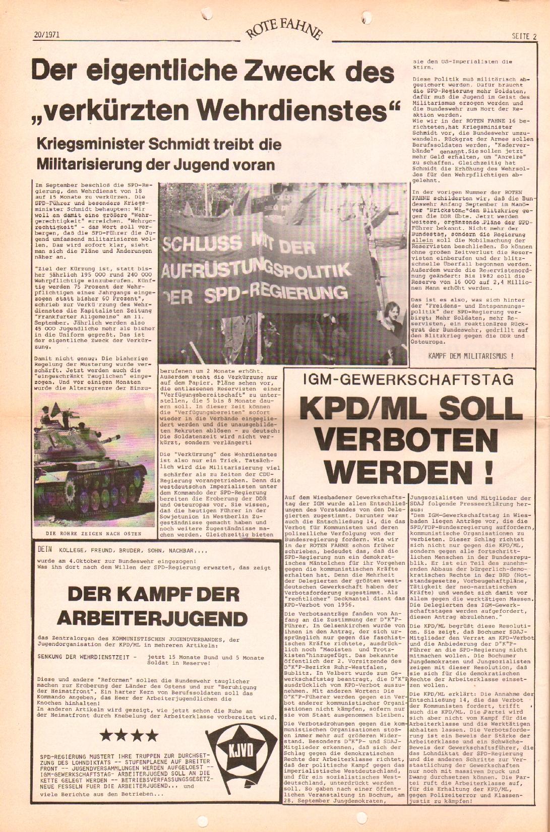Rote Fahne, 2. Jg., 11.10.1971, Nr. 20, Seite 2