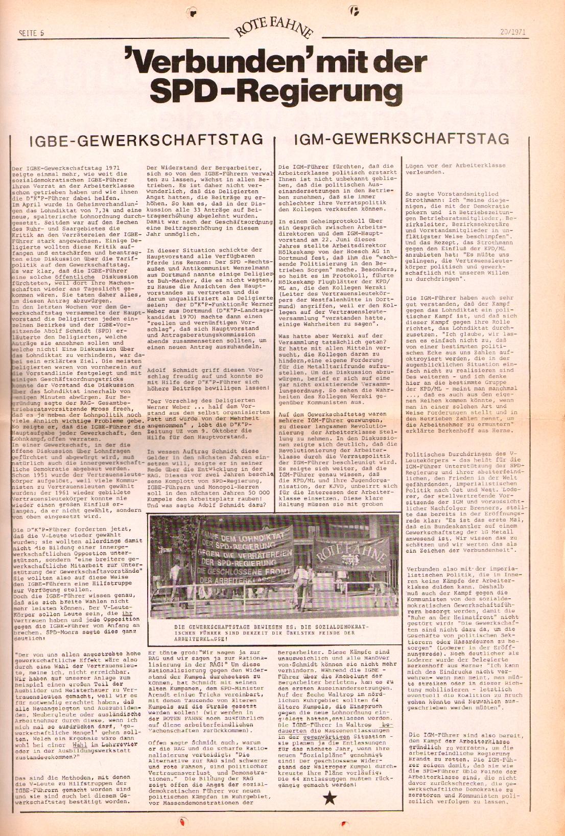 Rote Fahne, 2. Jg., 11.10.1971, Nr. 20, Seite 5