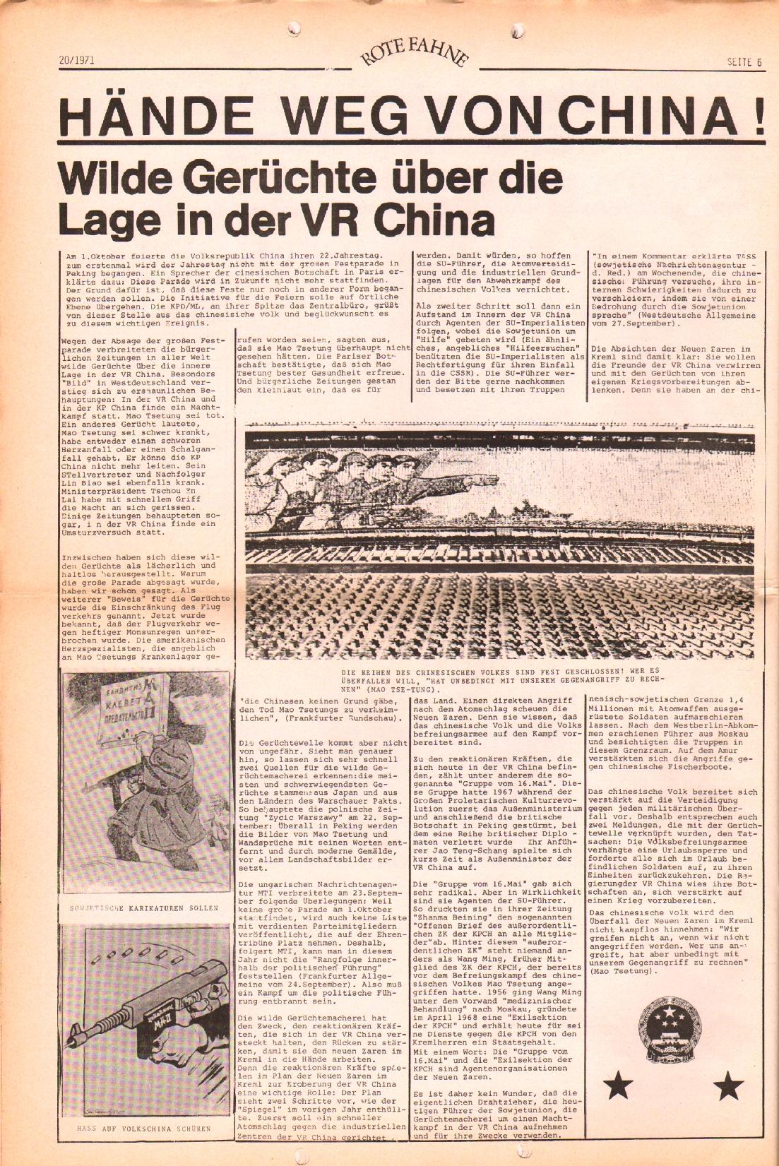 Rote Fahne, 2. Jg., 11.10.1971, Nr. 20, Seite 6
