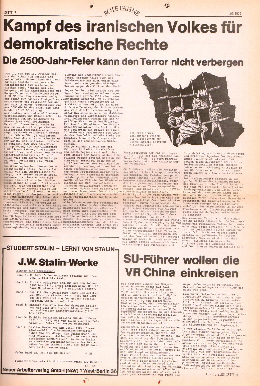 Rote Fahne, 2. Jg., 11.10.1971, Nr. 20, Seite 7