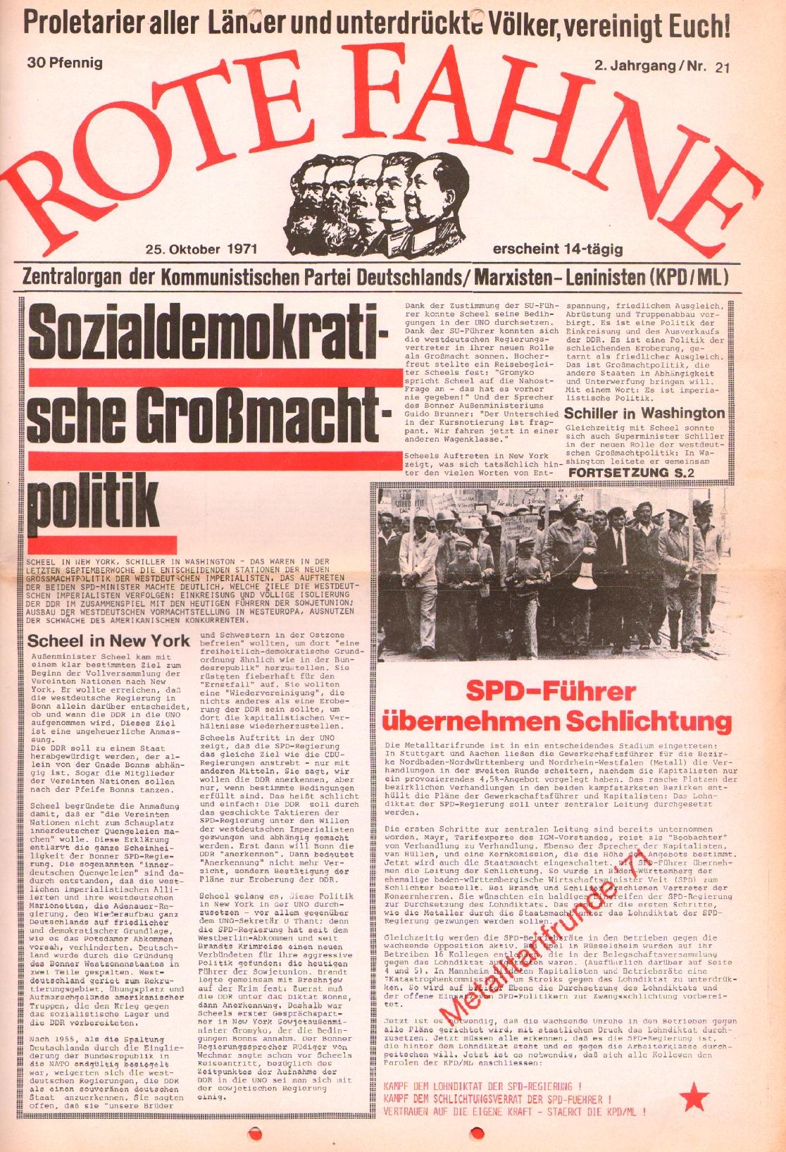 Rote Fahne, 2. Jg., 25.10.1971, Nr. 21, Seite 1