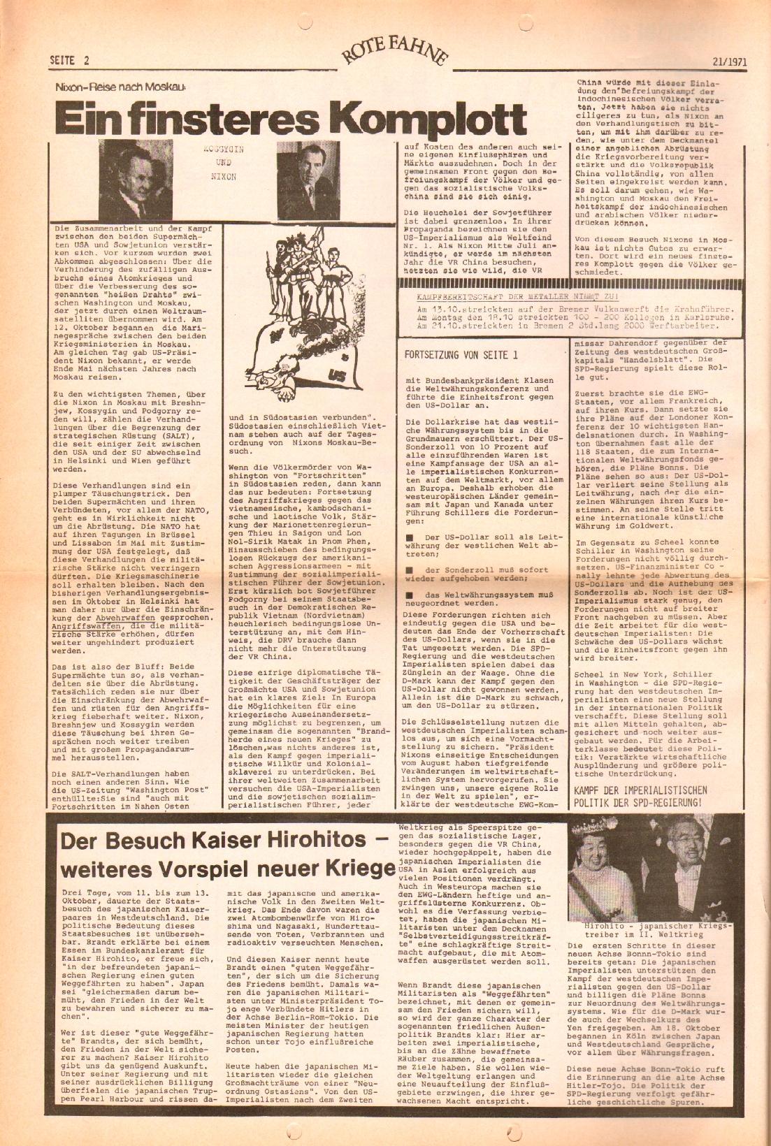 Rote Fahne, 2. Jg., 25.10.1971, Nr. 21, Seite 2