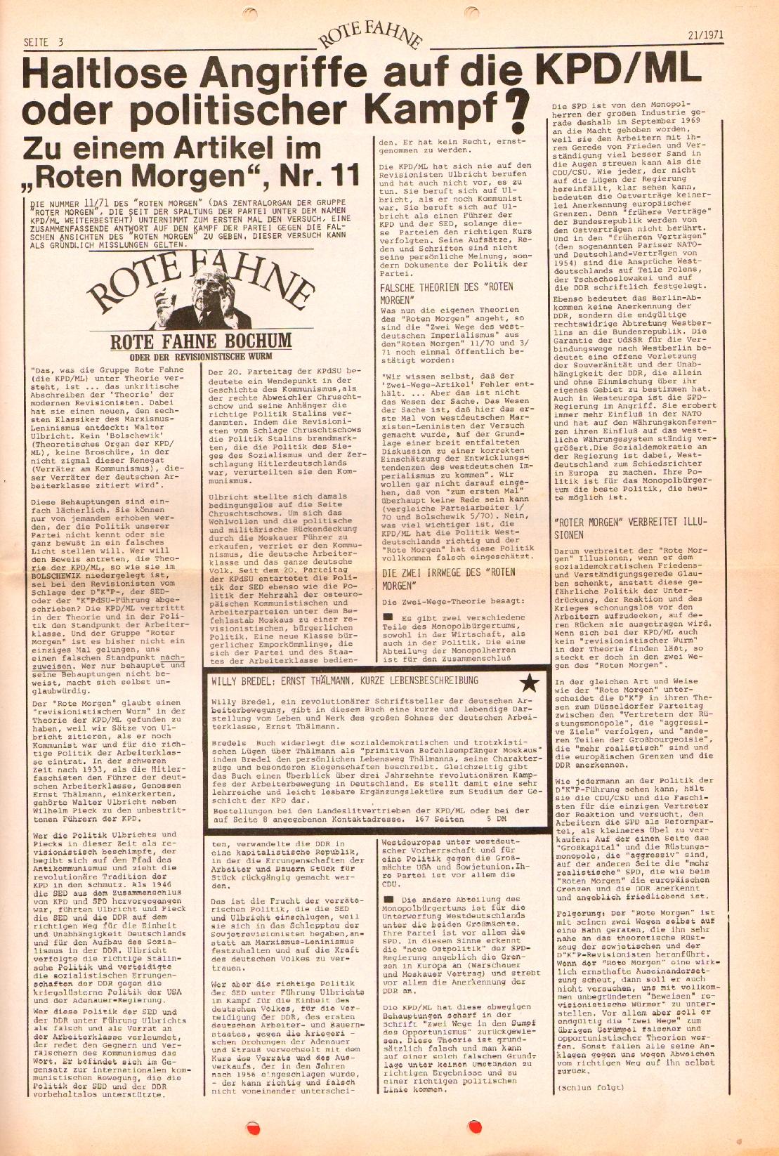 Rote Fahne, 2. Jg., 25.10.1971, Nr. 21, Seite 3