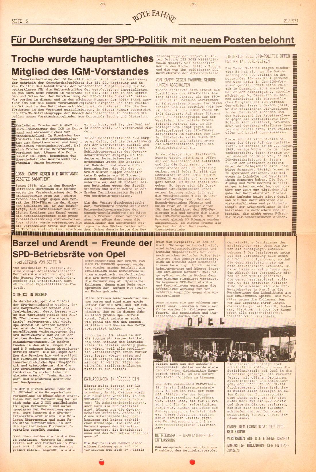 Rote Fahne, 2. Jg., 25.10.1971, Nr. 21, Seite 5