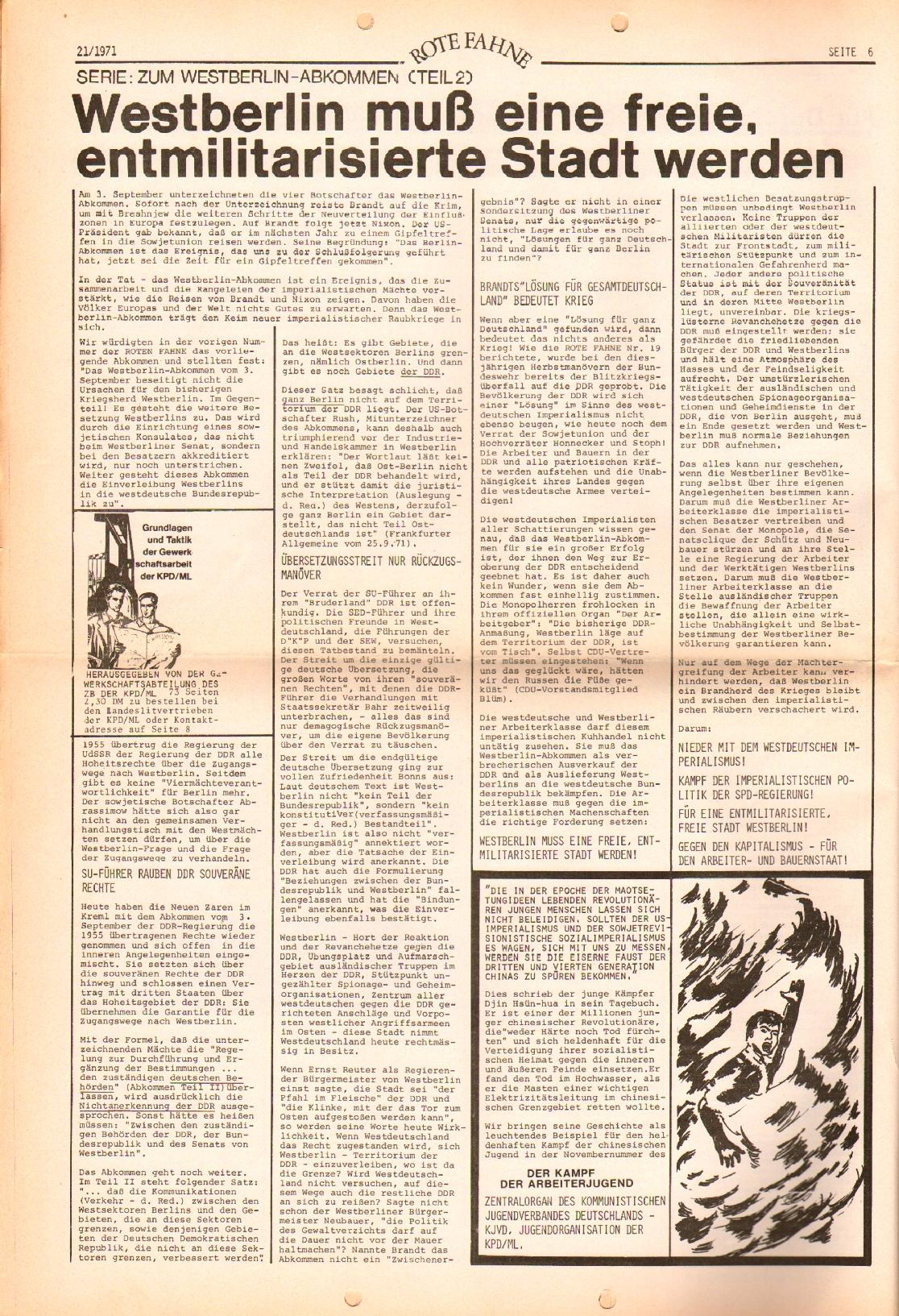 Rote Fahne, 2. Jg., 25.10.1971, Nr. 21, Seite 6
