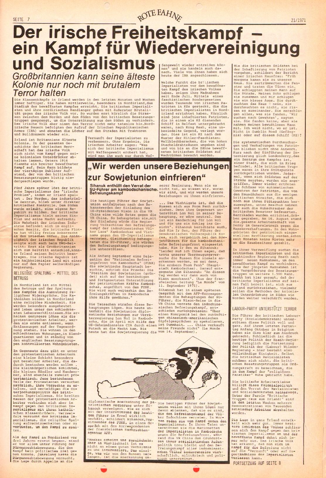 Rote Fahne, 2. Jg., 25.10.1971, Nr. 21, Seite 7