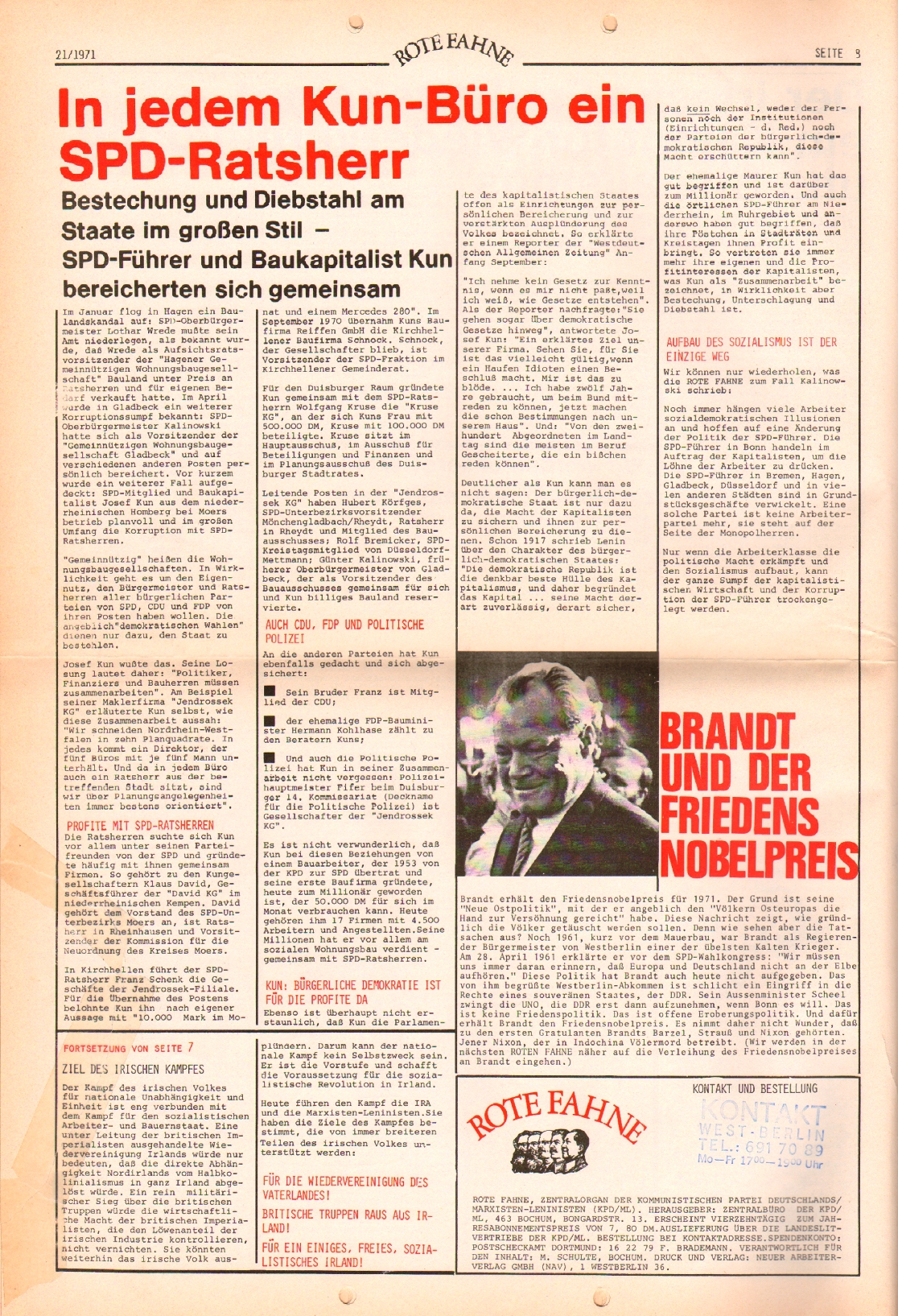 Rote Fahne, 2. Jg., 25.10.1971, Nr. 21, Seite 8