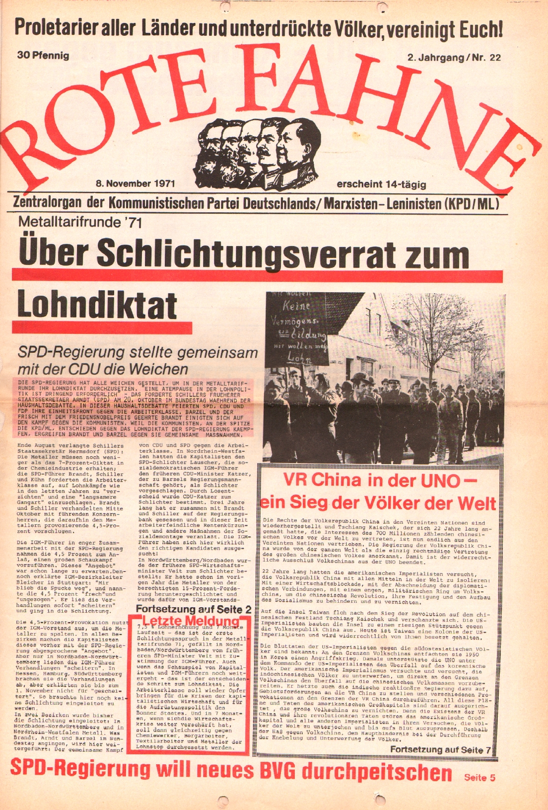 Rote Fahne, 2. Jg., 8.11.1971, Nr. 22, Seite 1