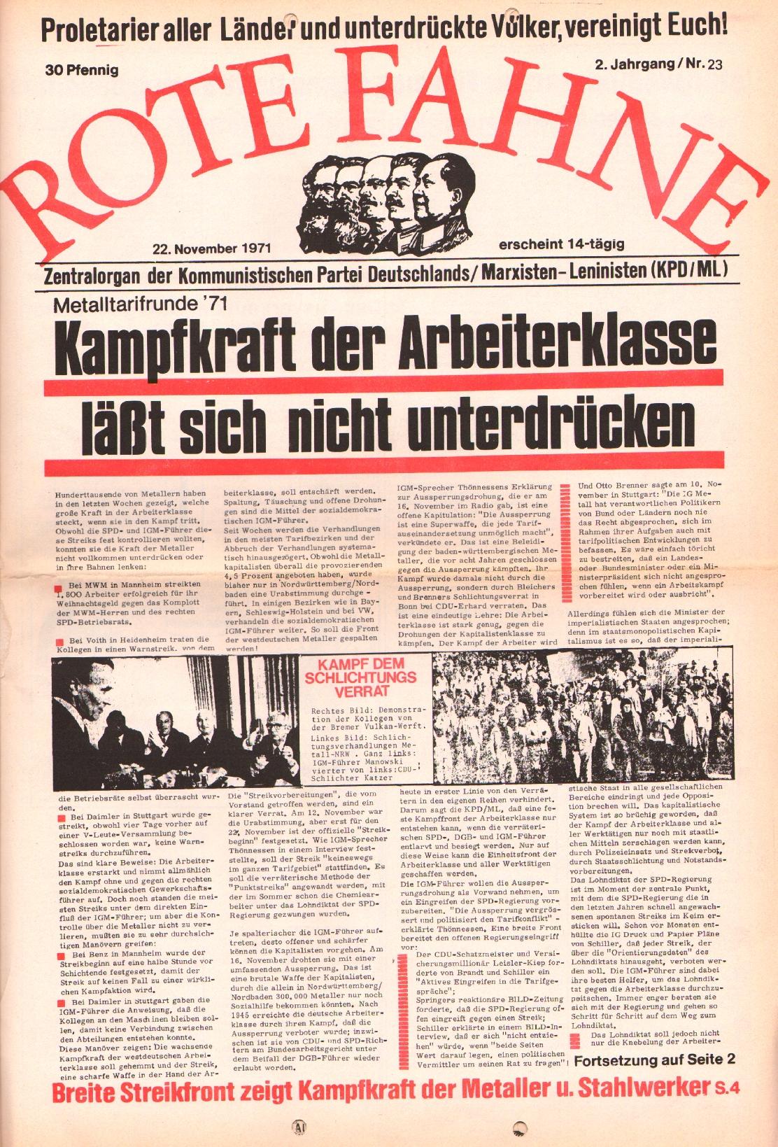 Rote Fahne, 2. Jg., 22.11.1971, Nr. 23, Seite 1