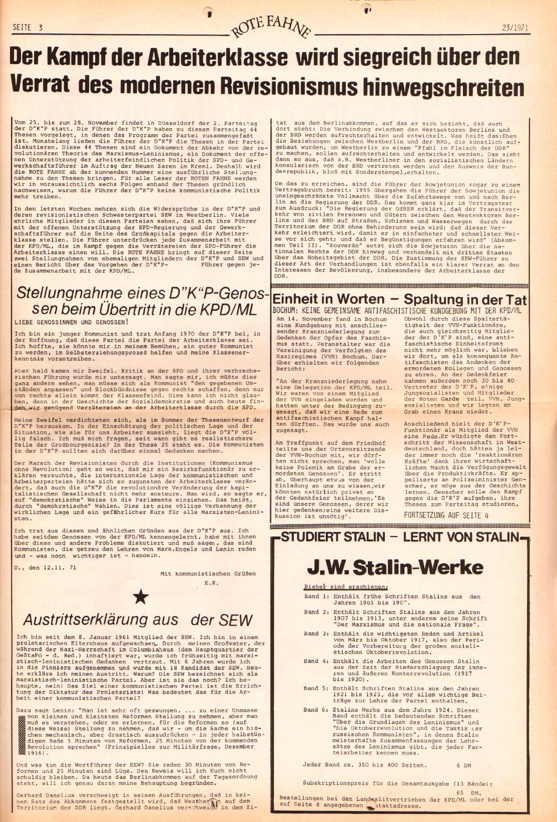 Rote Fahne, 2. Jg., 22.11.1971, Nr. 23, Seite 3
