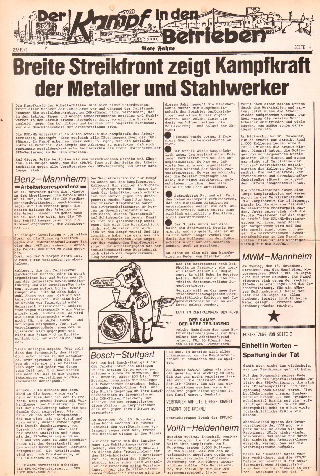 Rote Fahne, 2. Jg., 22.11.1971, Nr. 23, Seite 4