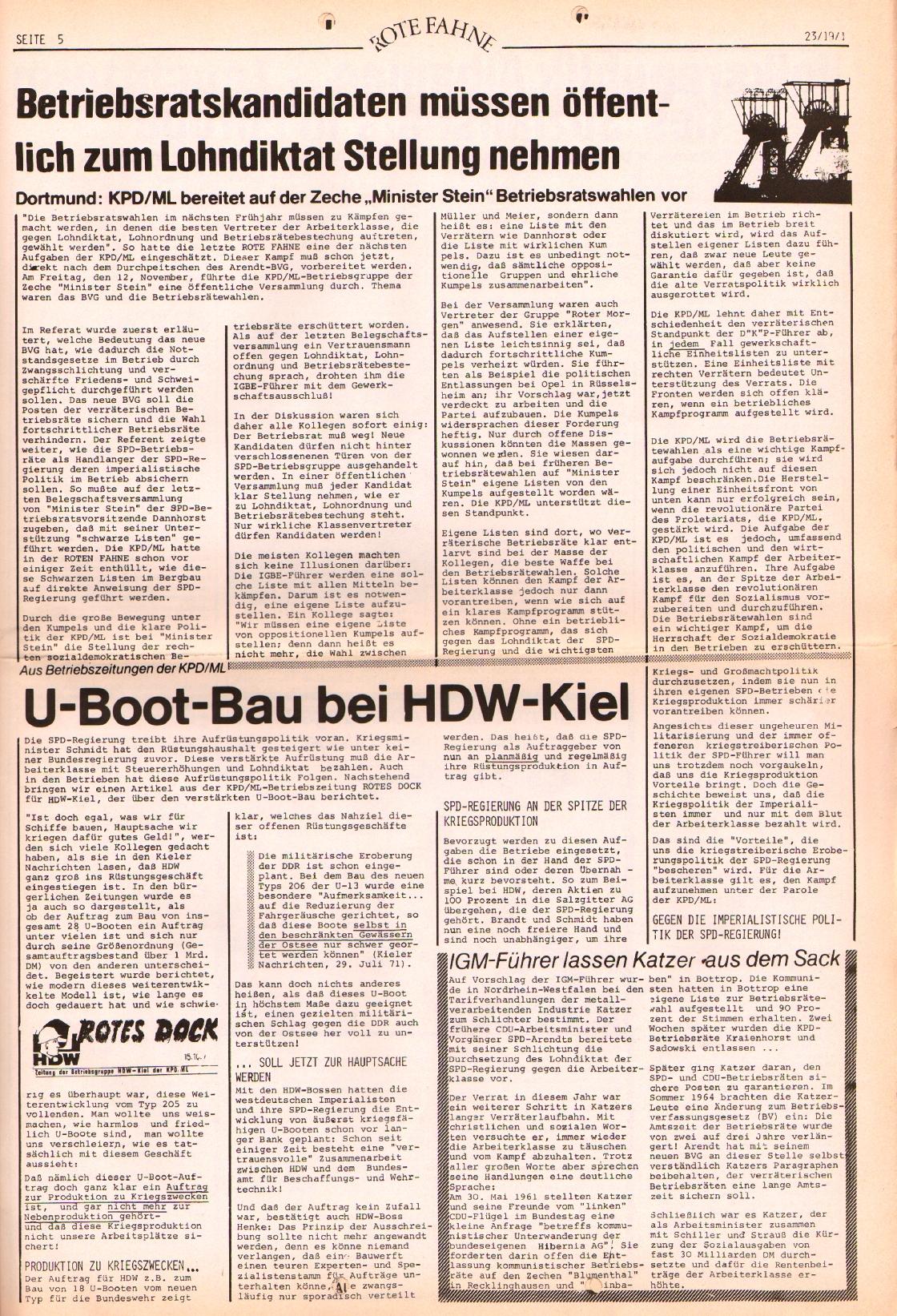 Rote Fahne, 2. Jg., 22.11.1971, Nr. 23, Seite 5
