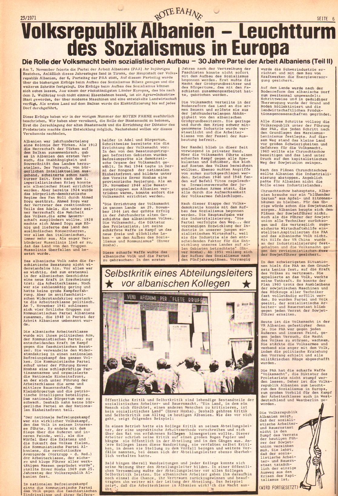 Rote Fahne, 2. Jg., 22.11.1971, Nr. 23, Seite 6