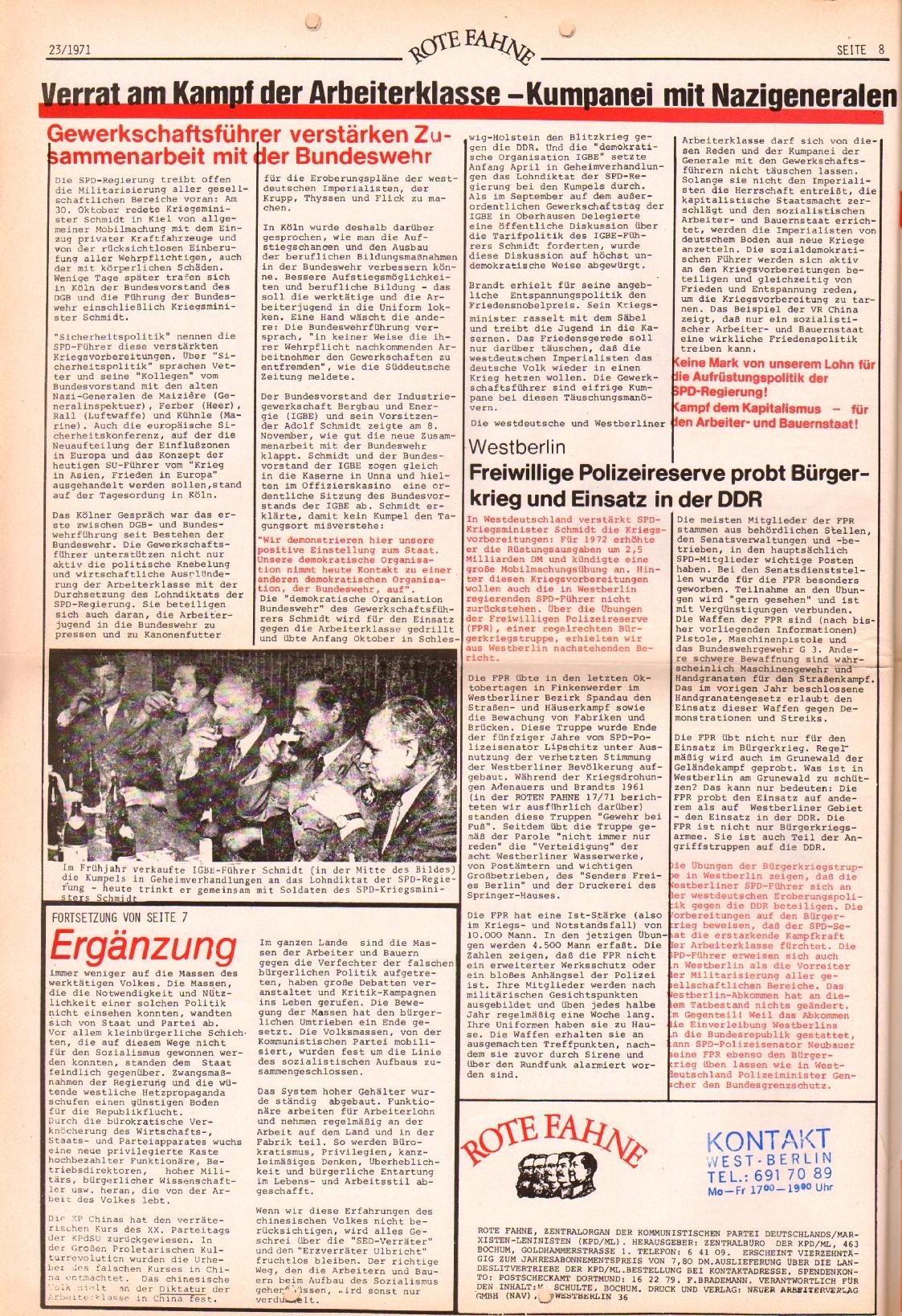 Rote Fahne, 2. Jg., 22.11.1971, Nr. 23, Seite 8