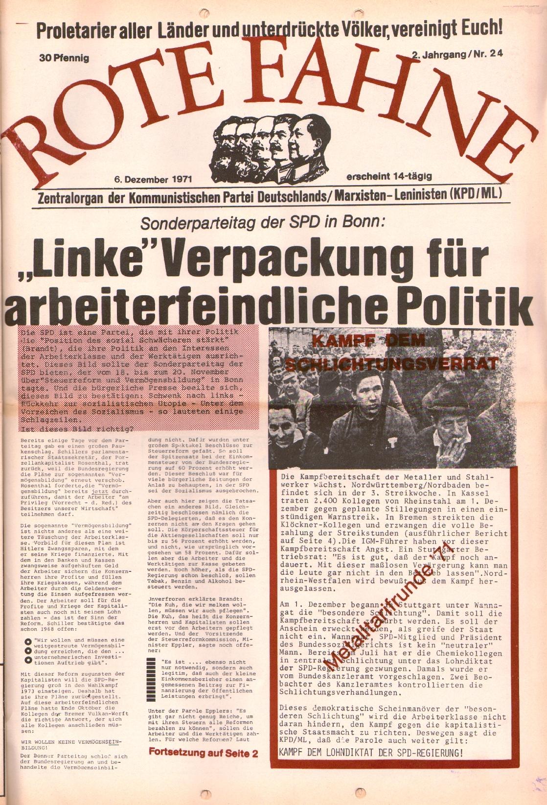 Rote Fahne, 2. Jg., 6.12.1971, Nr. 24, Seite 1