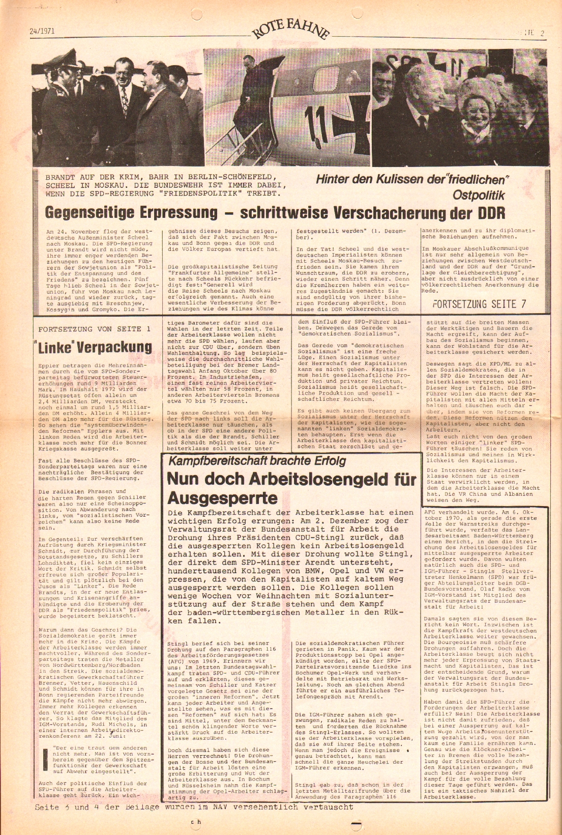 Rote Fahne, 2. Jg., 6.12.1971, Nr. 24, Seite 2