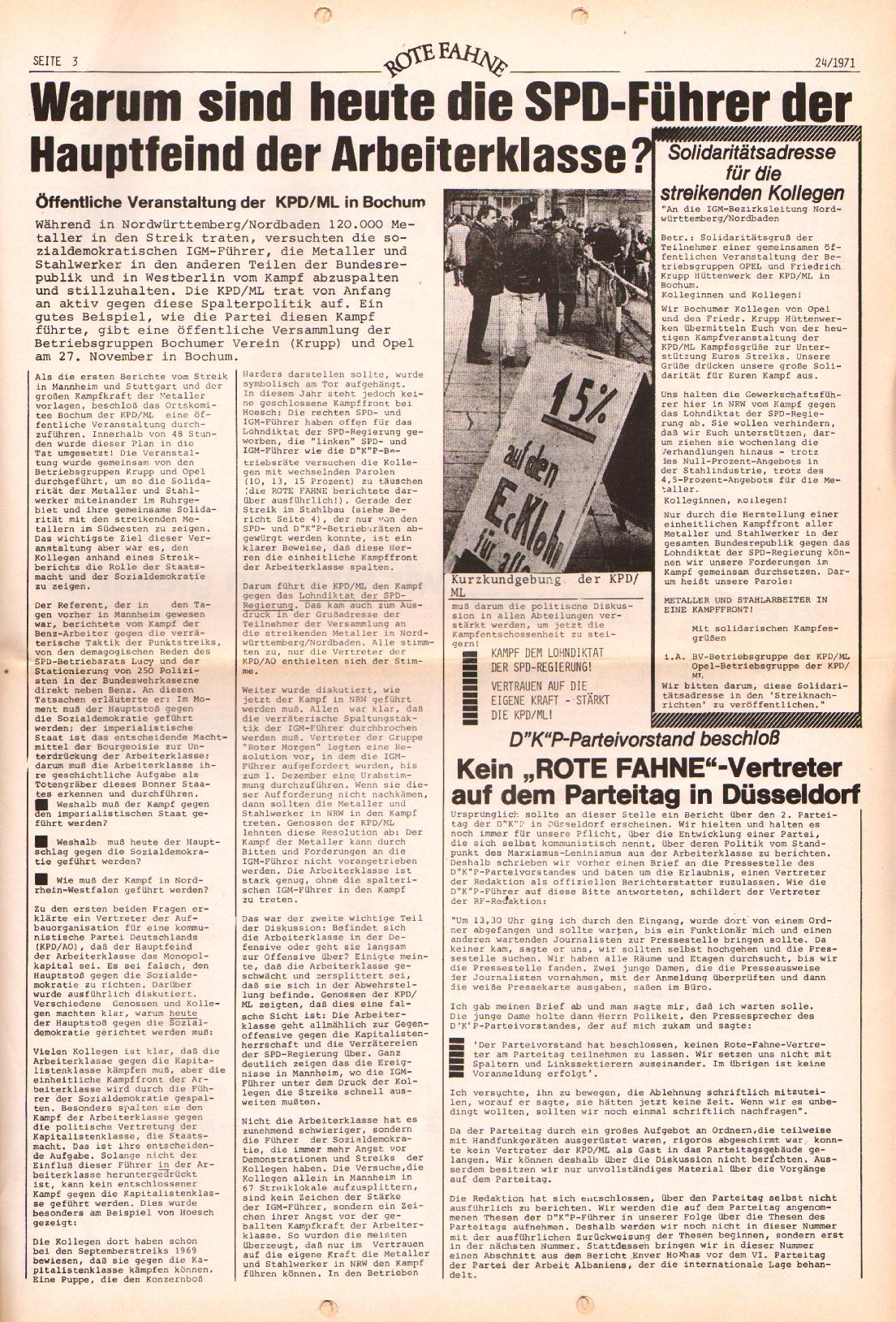 Rote Fahne, 2. Jg., 6.12.1971, Nr. 24, Seite 3