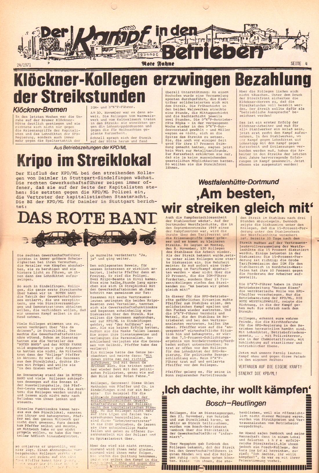 Rote Fahne, 2. Jg., 6.12.1971, Nr. 24, Seite 4
