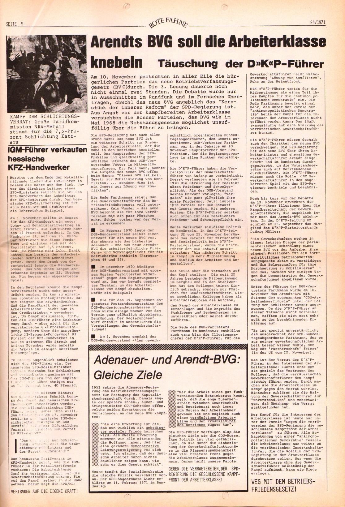 Rote Fahne, 2. Jg., 6.12.1971, Nr. 24, Seite 9