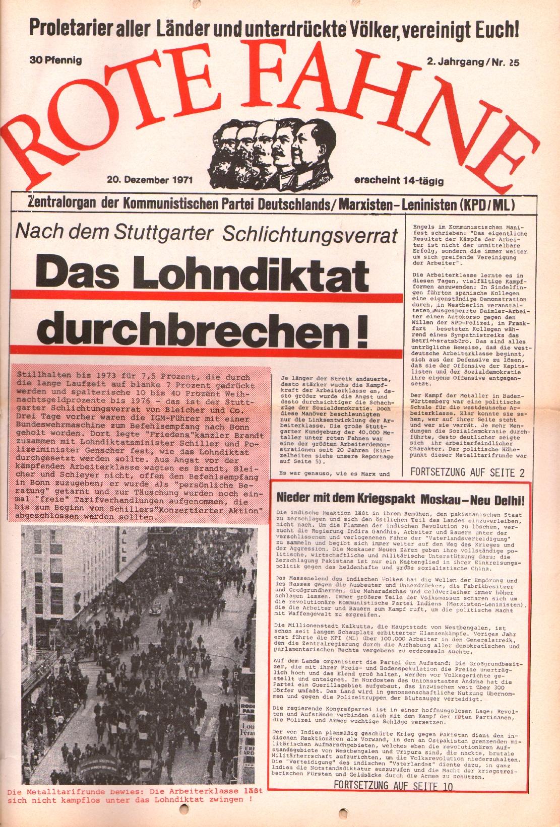 Rote Fahne, 2. Jg., 20.12.1971, Nr. 25, Seite 1