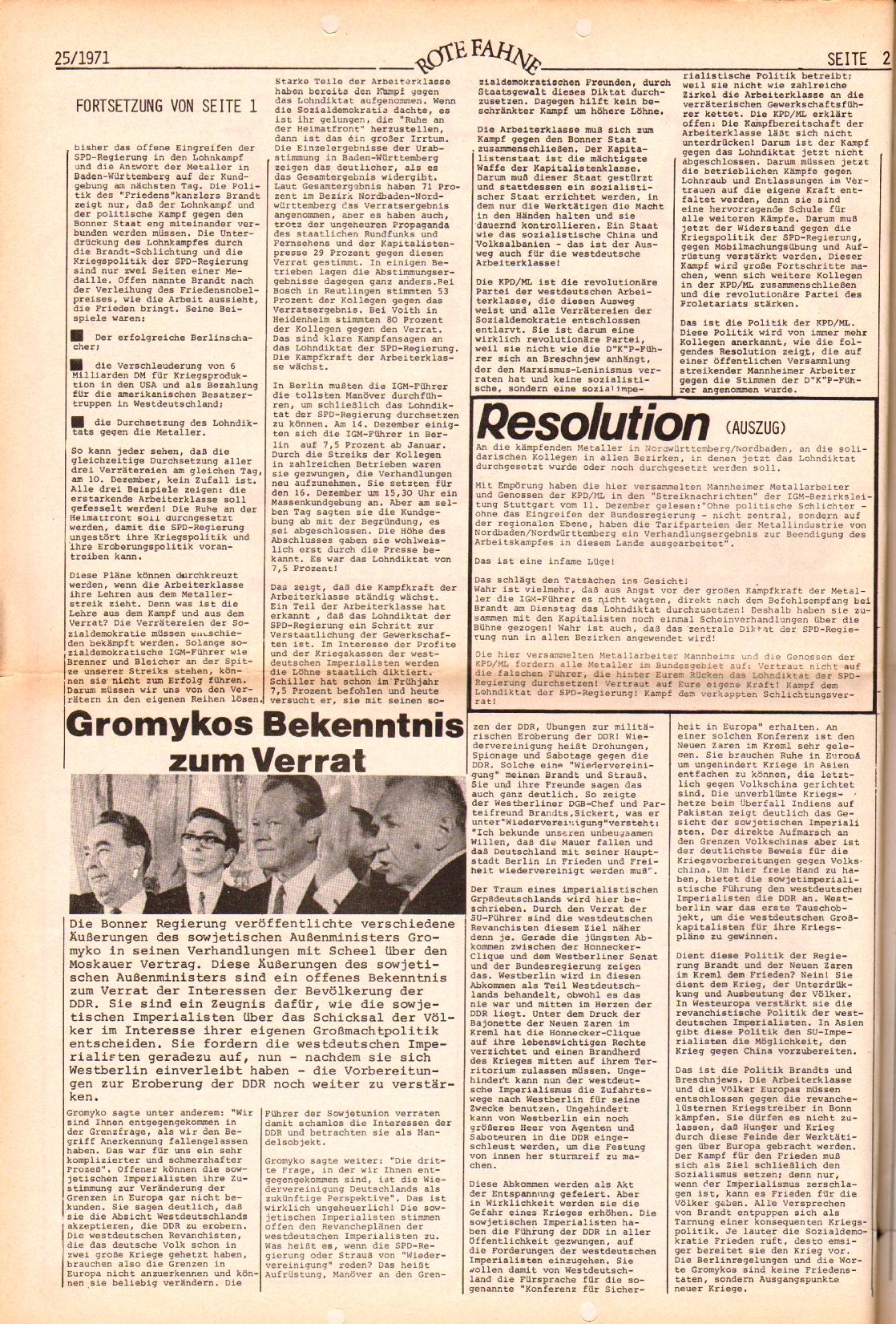 Rote Fahne, 2. Jg., 20.12.1971, Nr. 25, Seite 2