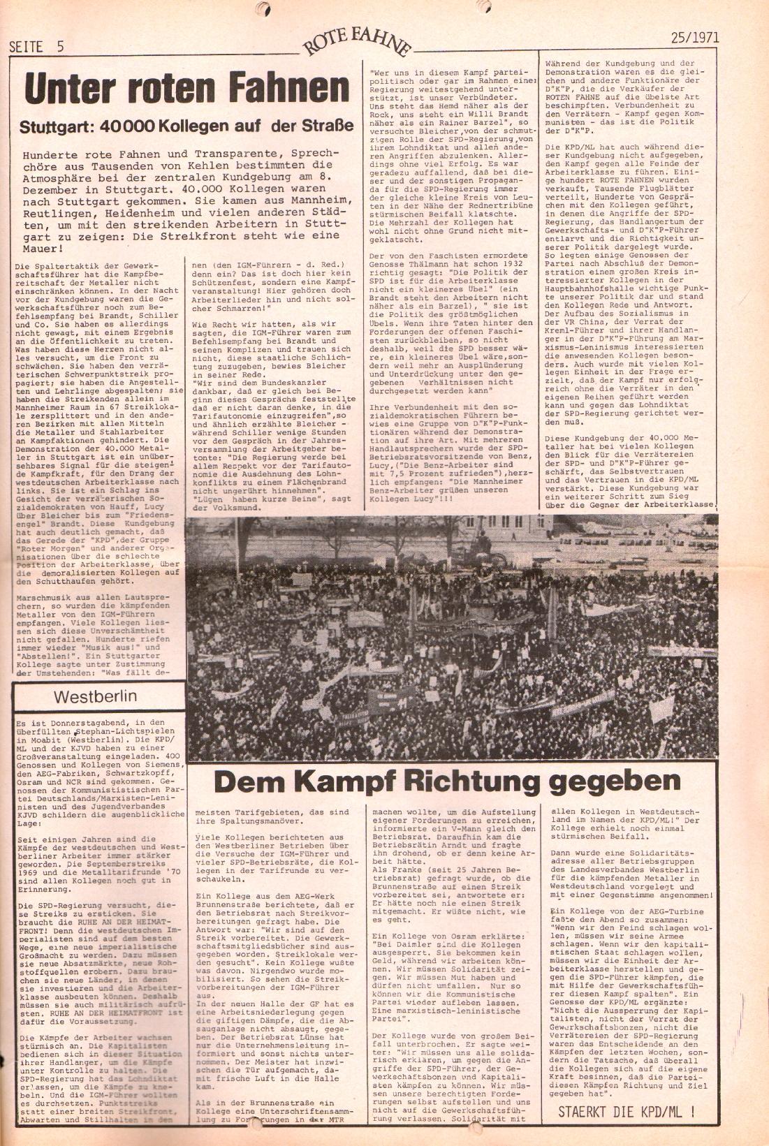 Rote Fahne, 2. Jg., 20.12.1971, Nr. 25, Seite 5