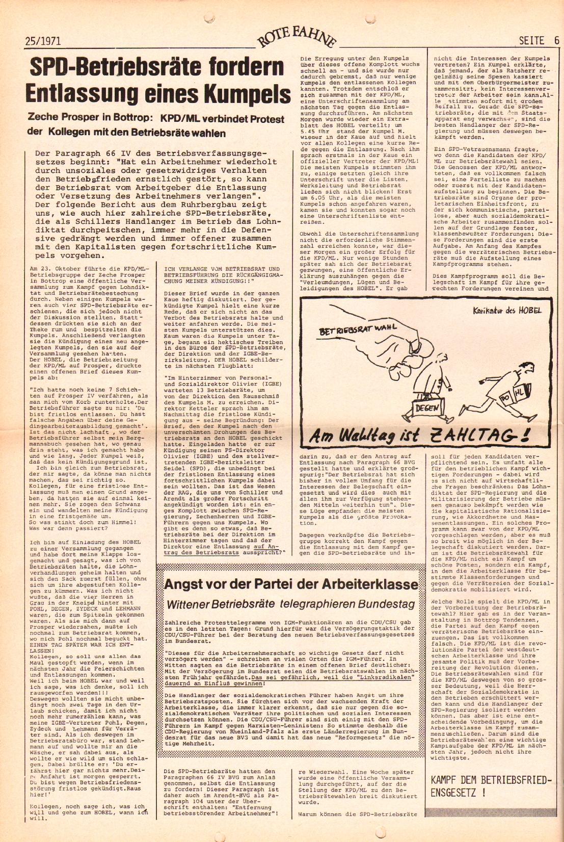 Rote Fahne, 2. Jg., 20.12.1971, Nr. 25, Seite 6