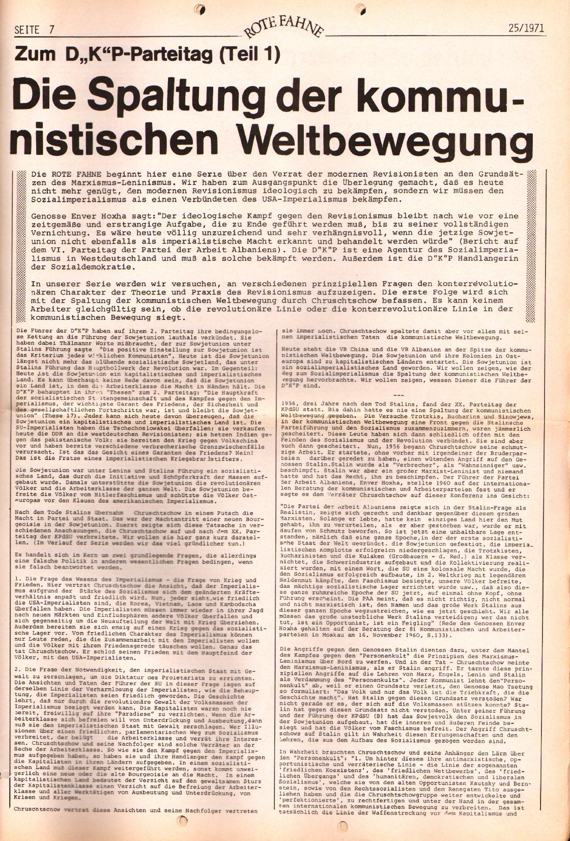 Rote Fahne, 2. Jg., 20.12.1971, Nr. 25, Seite 7