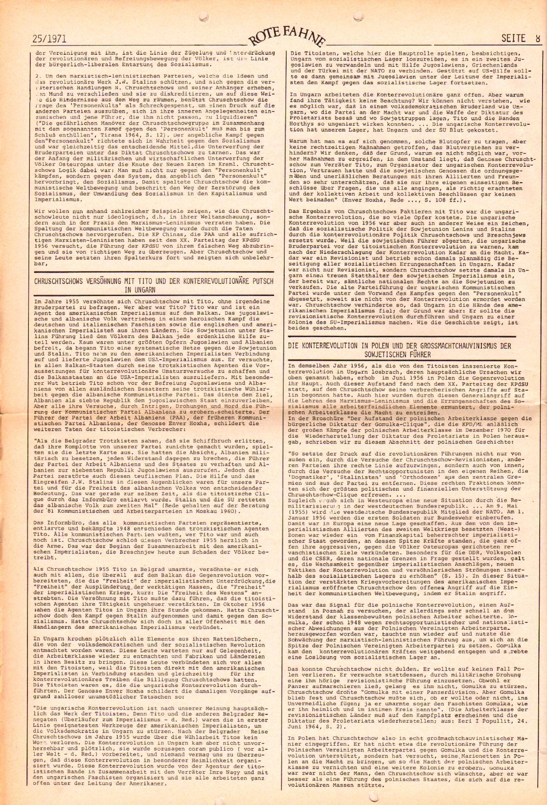 Rote Fahne, 2. Jg., 20.12.1971, Nr. 25, Seite 8