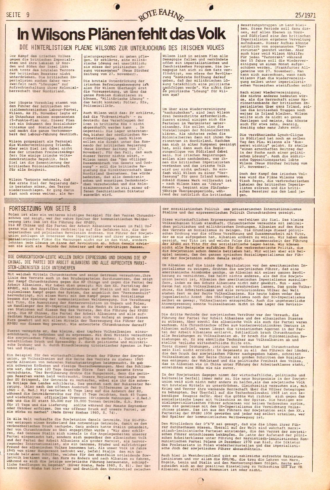 Rote Fahne, 2. Jg., 20.12.1971, Nr. 25, Seite 9