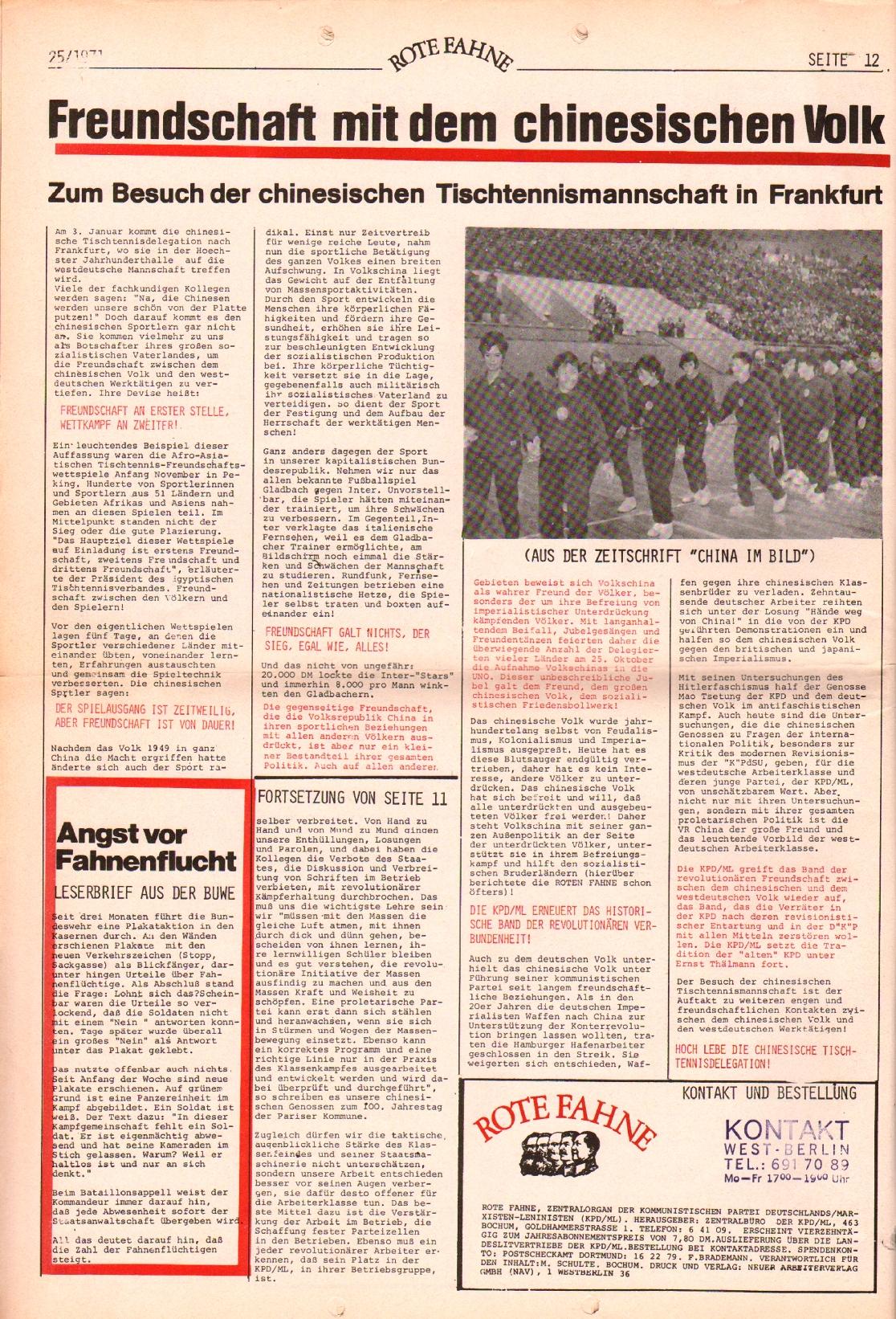 Rote Fahne, 2. Jg., 20.12.1971, Nr. 25, Seite 12