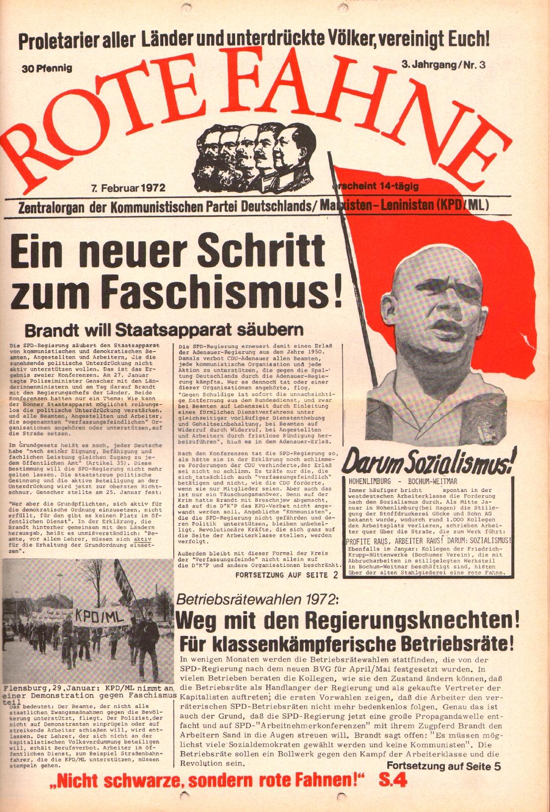 Rote Fahne, 3. Jg., 7.2.1972, Nr. 3, Seite 1