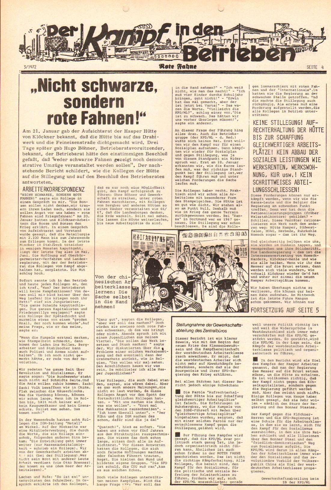 Rote Fahne, 3. Jg., 7.2.1972, Nr. 3, Seite 4