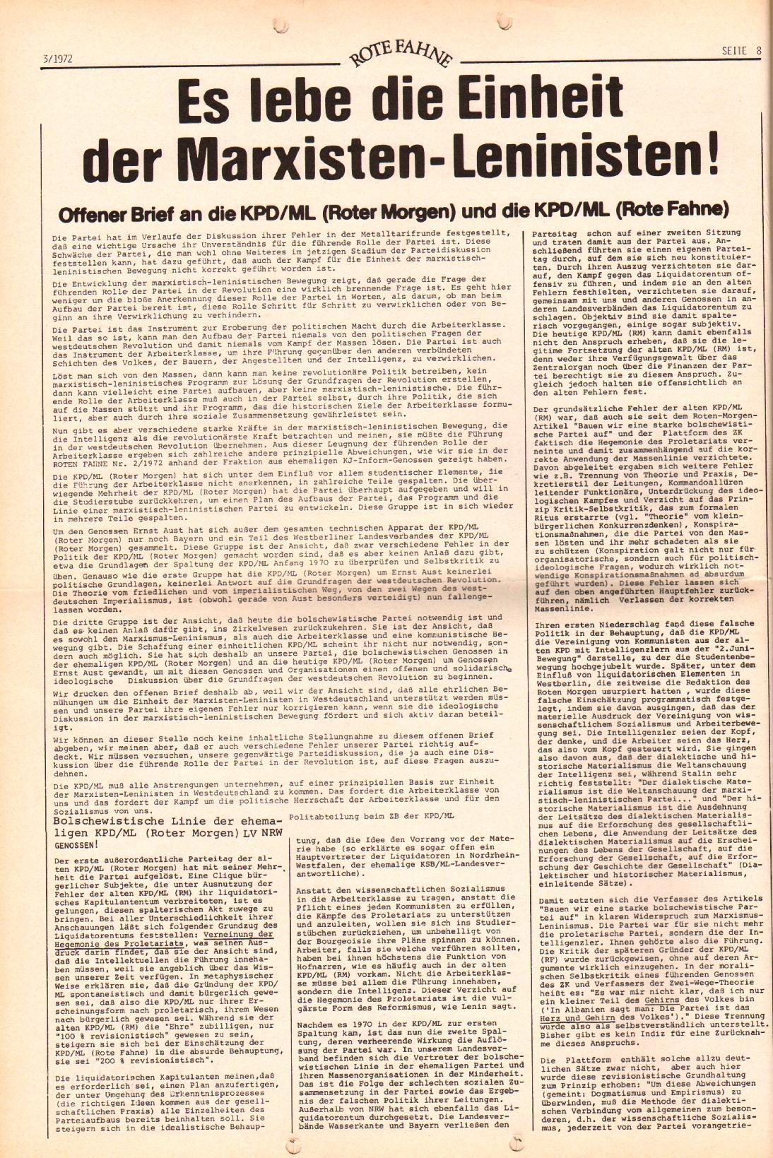 Rote Fahne, 3. Jg., 7.2.1972, Nr. 3, Seite 8