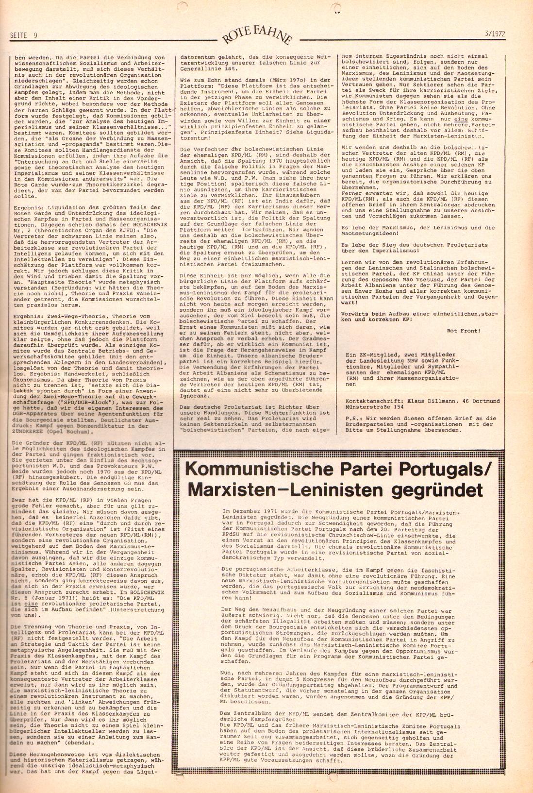 Rote Fahne, 3. Jg., 7.2.1972, Nr. 3, Seite 9