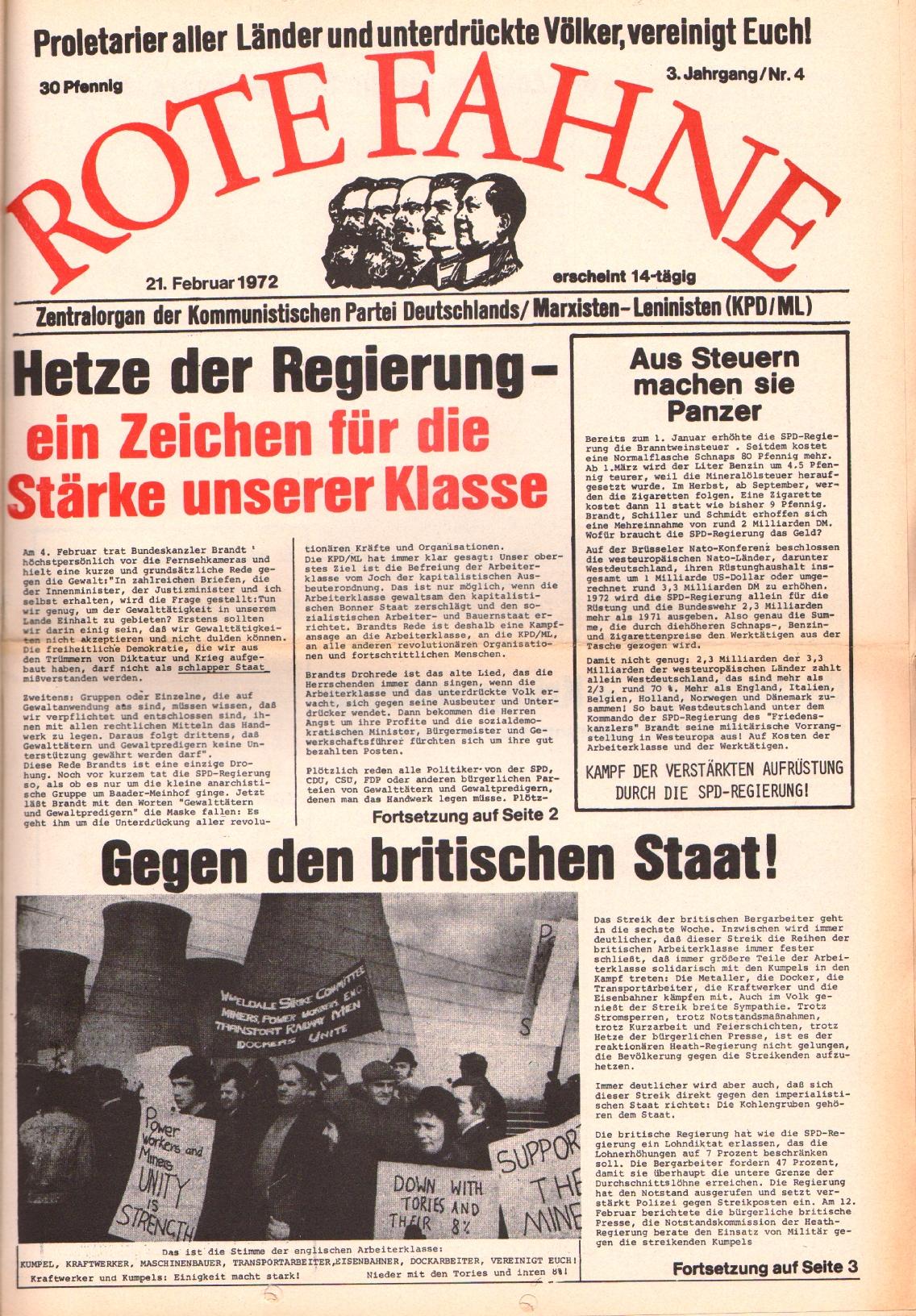 Rote Fahne, 3. Jg., 21.2.1972, Nr. 4, Seite 1