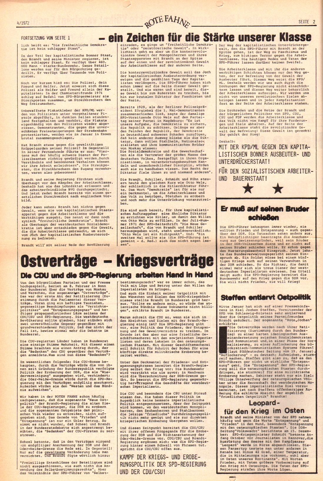 Rote Fahne, 3. Jg., 21.2.1972, Nr. 4, Seite 2