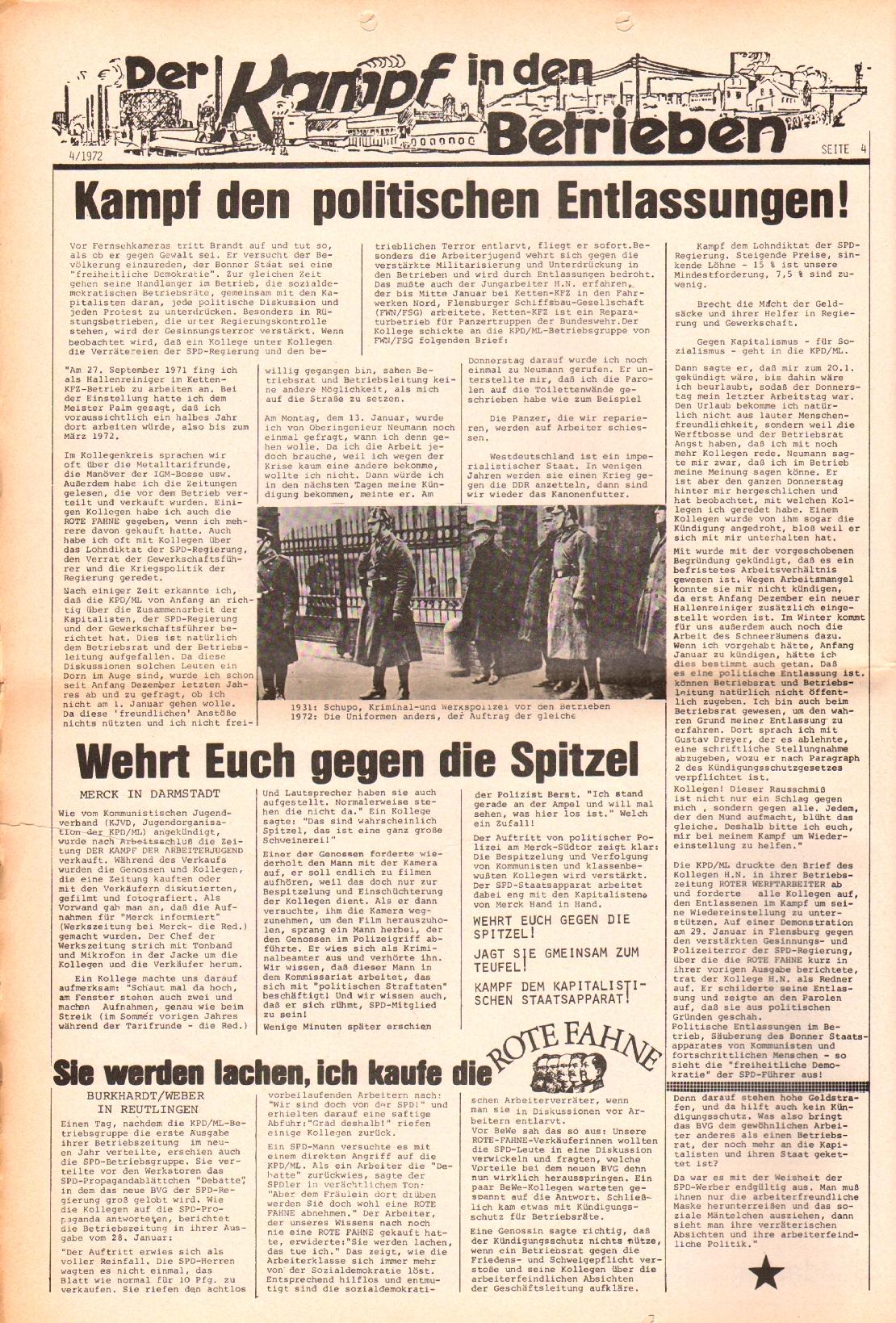 Rote Fahne, 3. Jg., 21.2.1972, Nr. 4, Seite 4