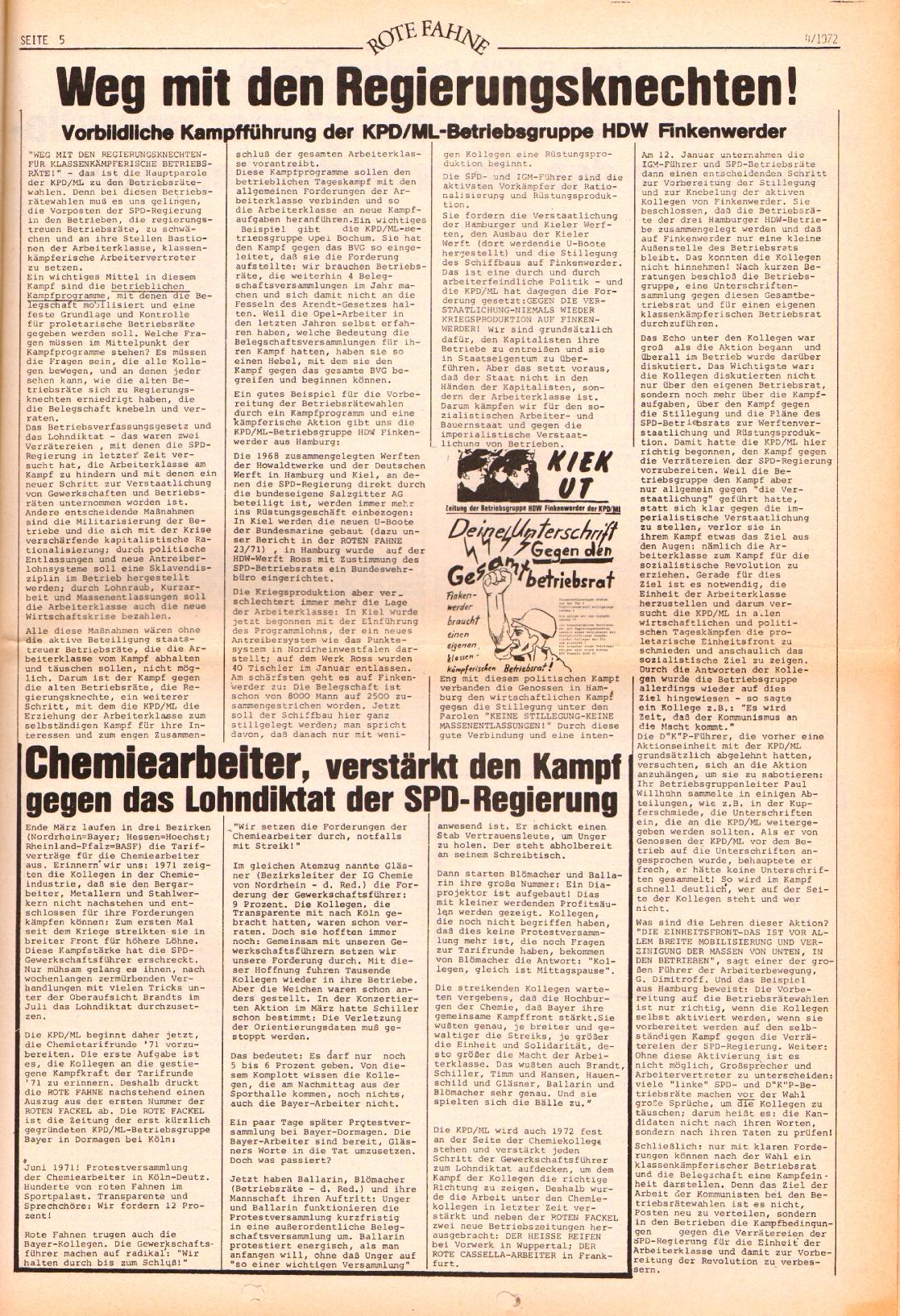 Rote Fahne, 3. Jg., 21.2.1972, Nr. 4, Seite 5