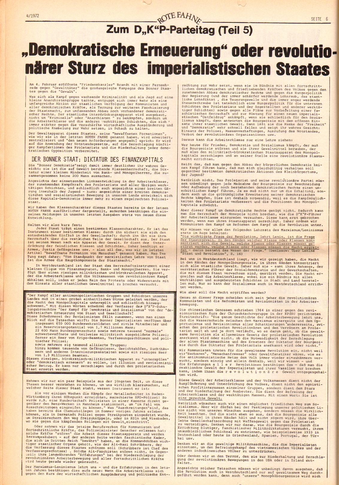 Rote Fahne, 3. Jg., 21.2.1972, Nr. 4, Seite 6
