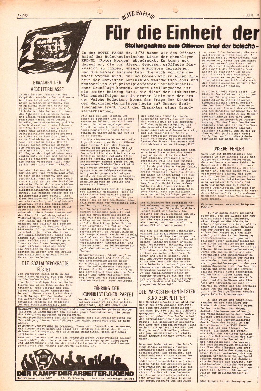 Rote Fahne, 3. Jg., 21.2.1972, Nr. 4, Seite 8