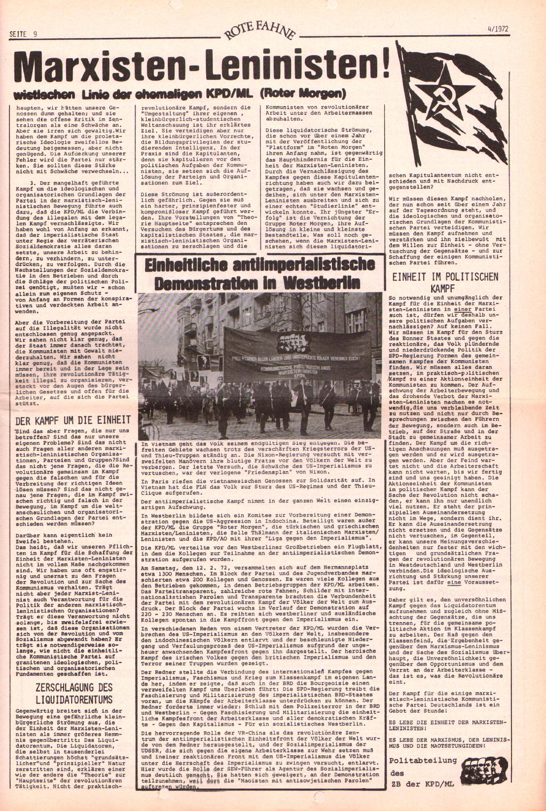 Rote Fahne, 3. Jg., 21.2.1972, Nr. 4, Seite 9