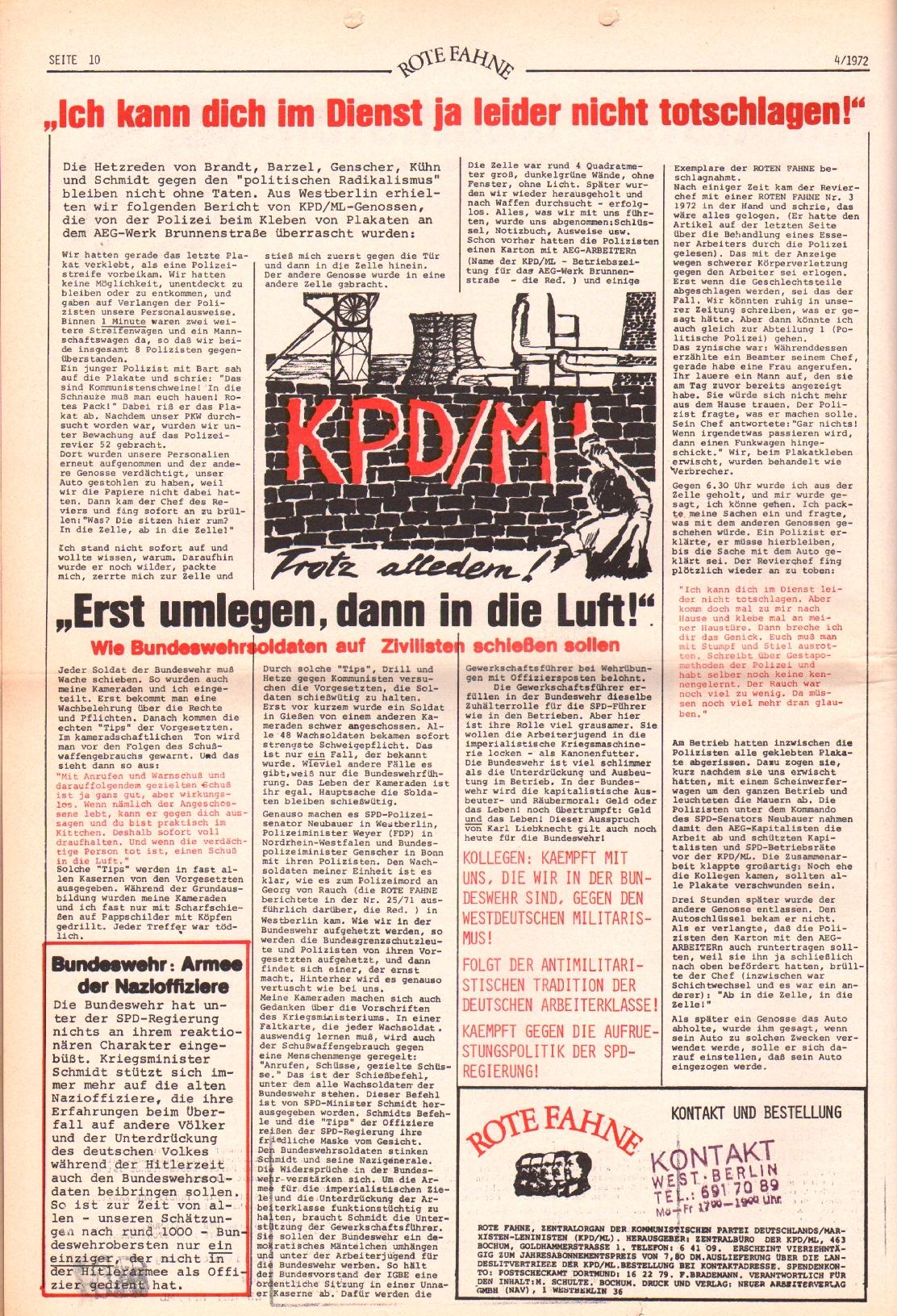 Rote Fahne, 3. Jg., 21.2.1972, Nr. 4, Seite 10