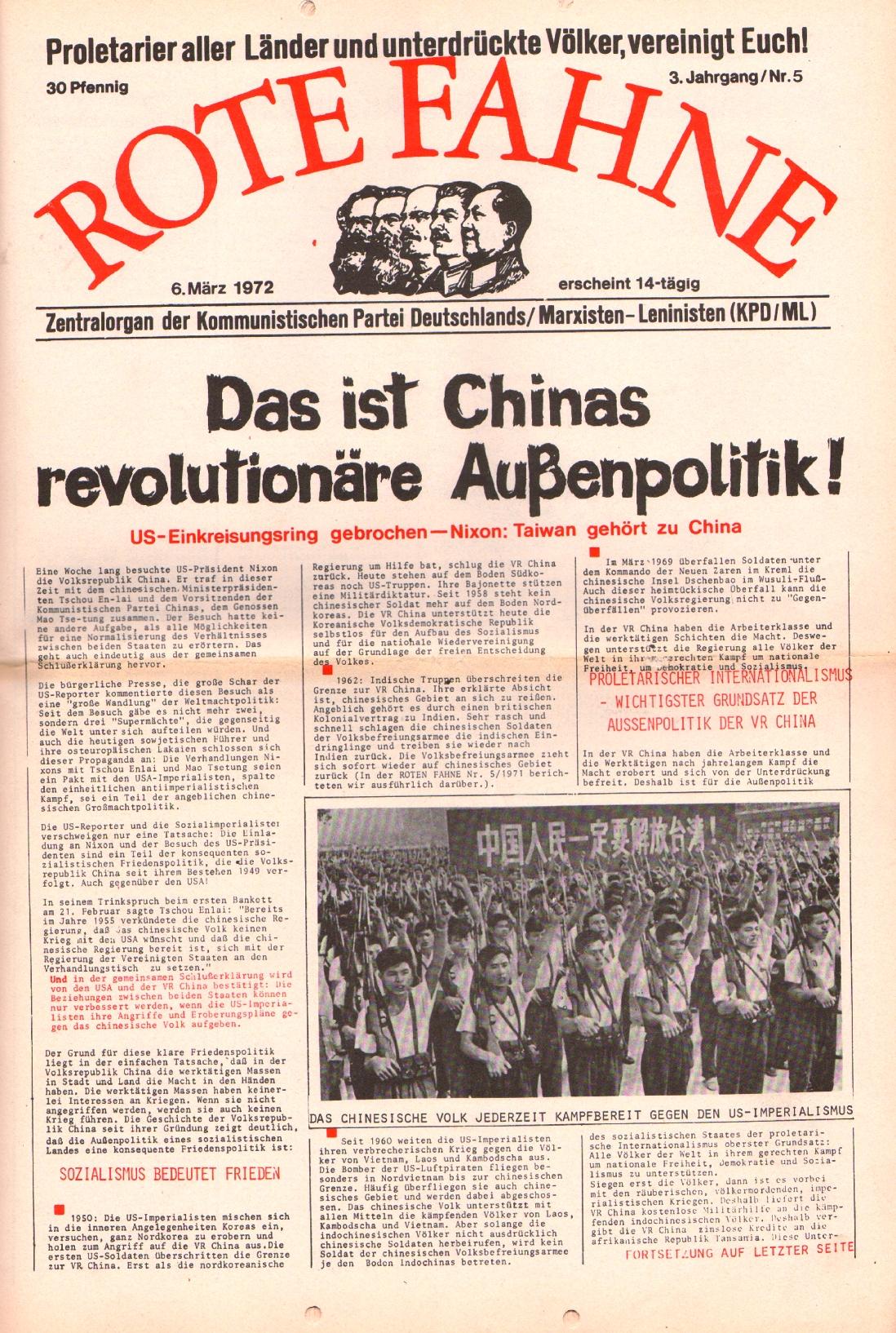 Rote Fahne, 3. Jg., 6.3.1972, Nr. 5, Seite 1